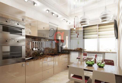 Кухня из крашенного МДФ с глянцевыми фасадами