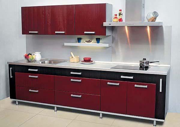 Кухня комбинированная черно-бордовая