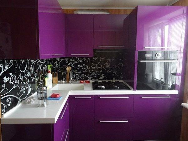 Кухня компактная фиолетовая