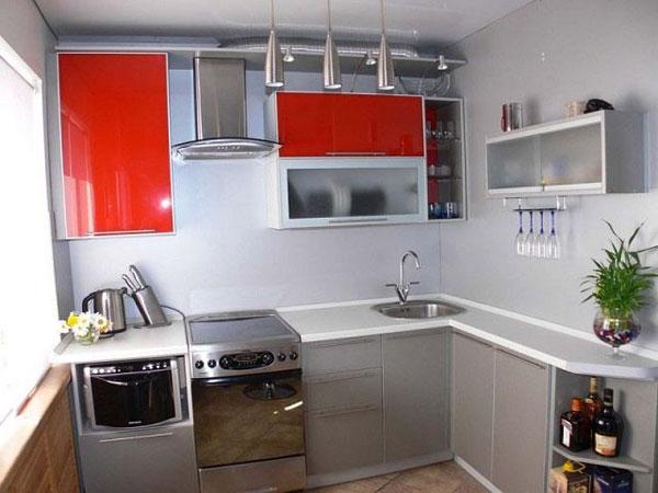 Кухня компактная красно-серая
