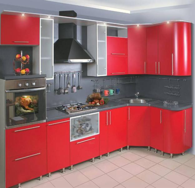 Кухня красная матовая с темной столешницей