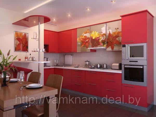 Кухня красная с барной стойкой