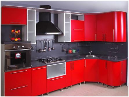 Кухня красная угловая