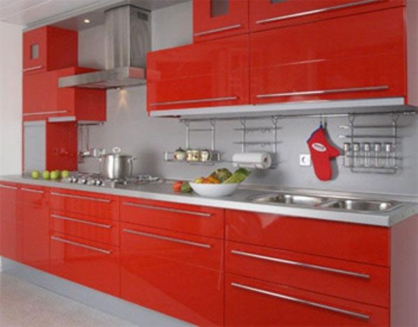Кухня красная яркая
