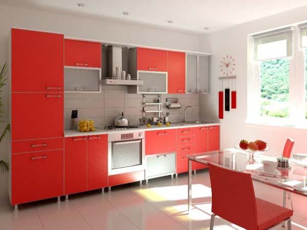 Кухня красно-белая на ножках