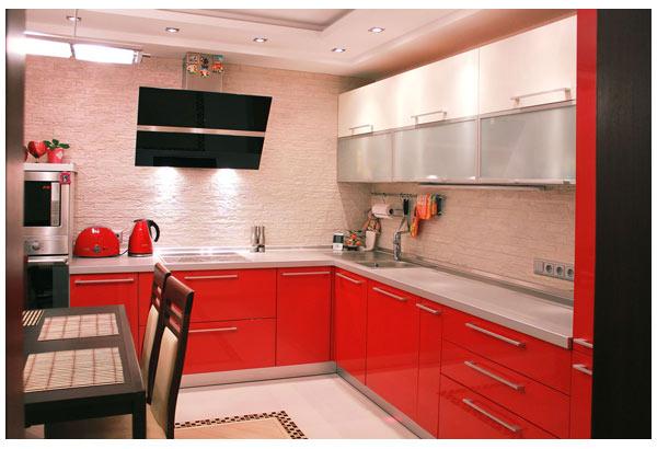 Кухня красно-белая с подсветкой