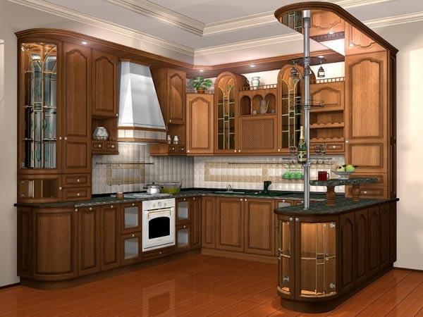Кухня красочная в классическом стиле