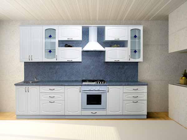 Кухня линейная белая