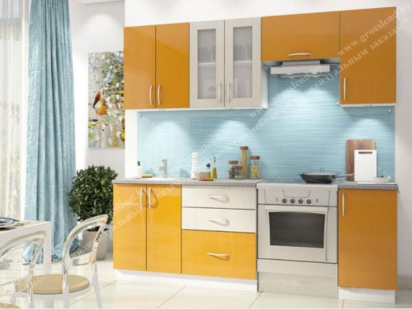 Кухня линейная бело-желтая