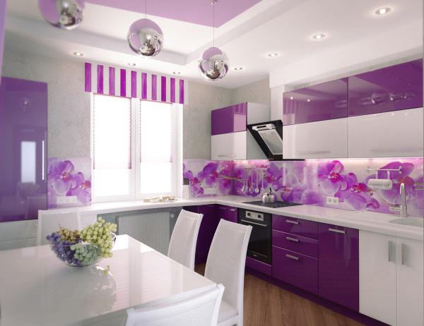 Кухня линейная фиолетово-белая