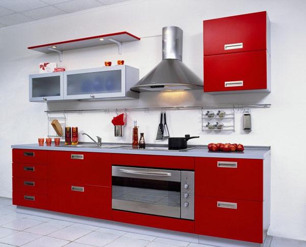 Кухня линейная красная с подсветкой