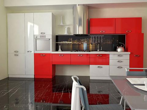 Кухня линейная красно-белая