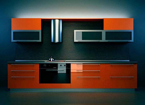 Кухня линейная оранжевая