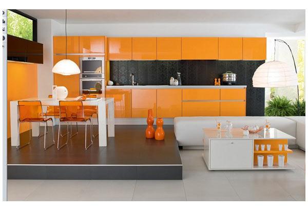 Кухня линейная оранжевая с подсветкой