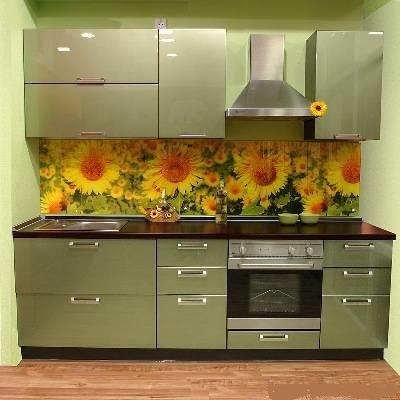 Кухня линейная перламутровая зеленая