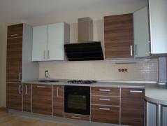 Кухня линейная с фасадами зебрано