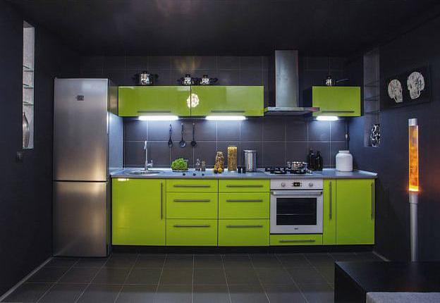 Кухня линейная салатовая