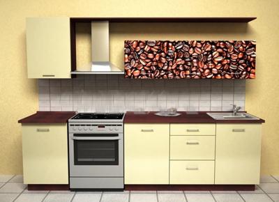 Кухня линейная в бежевом цвете