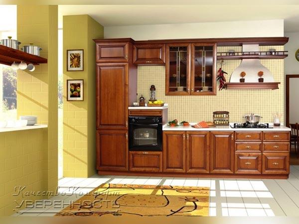 Кухня линейная в цвете орех