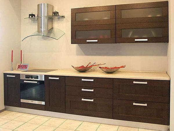 Кухня линейная в цвете венге