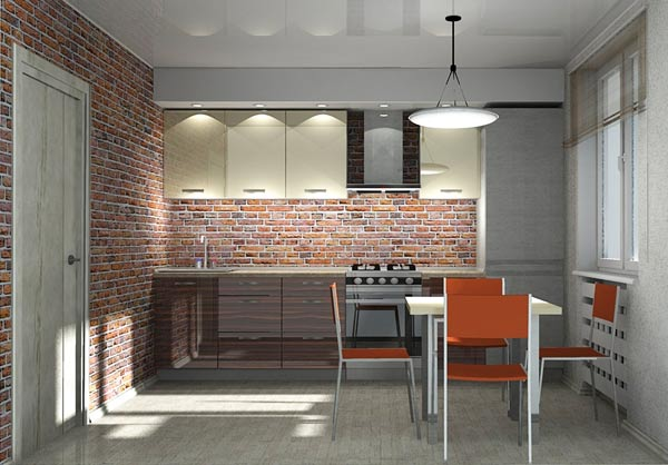 Кухня линейная в современном дизайне