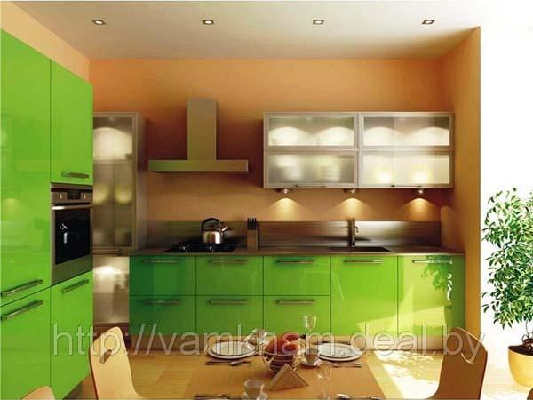 Кухня модульная яркого зеленого цвета