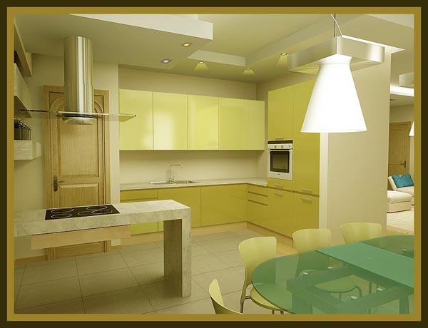 Кухня оливковая