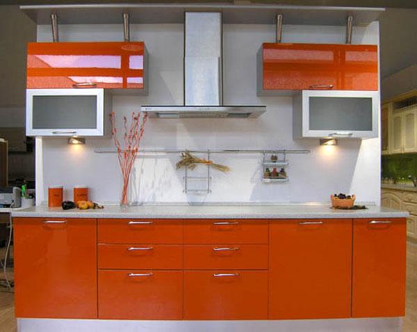 Кухня оранжево-белая