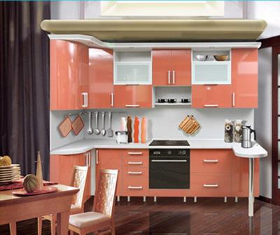 Кухня П-образная алая