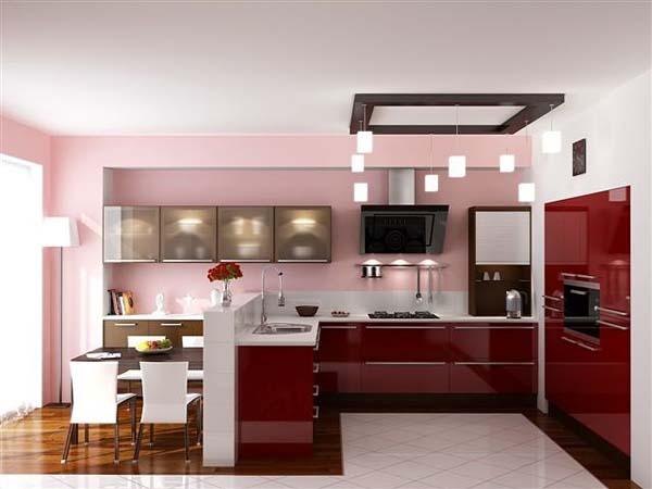 Кухня П-образная багровый глянец