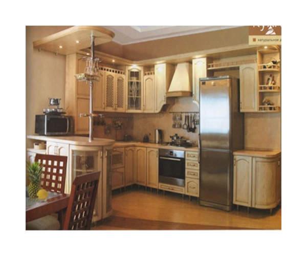 Кухня П-образная из массива дуба К-15