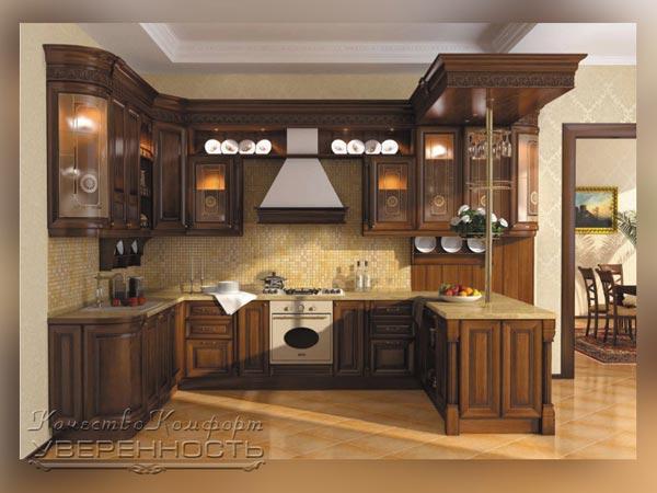 Кухня П-образная из натурального массива