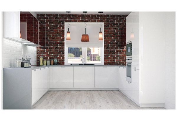 Кухня П-образная в белом исполнении