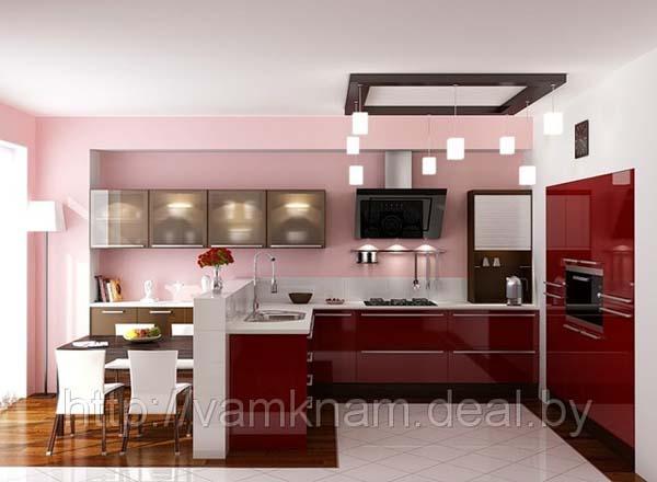 Кухня П-образная ярко-красная