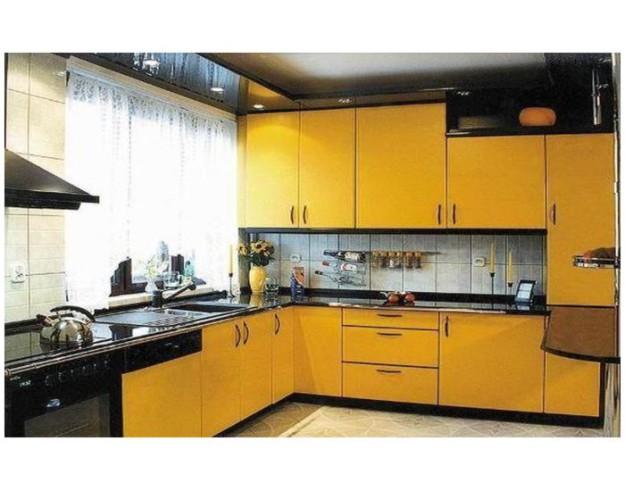Кухня П-образная желто-черная