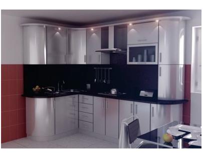 Кухня пластик с радиусными шкафами
