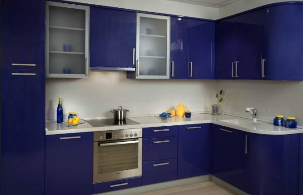Кухня пластик синяя угловая