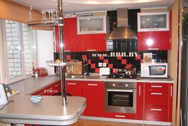 Кухня с барной стойкой красная