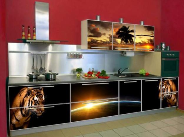 Кухня с фотопечатью «Тигр»