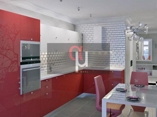 Кухня с пластиковыми фасадами в современном стиле