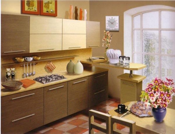 Кухня с приставной стойкой