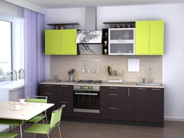 Кухня салатово-коричневая