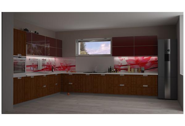 Кухня широкая с комбинированным фасадом