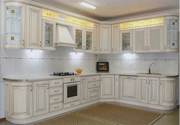 Кухня широкая в стиле ретро