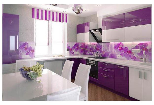 Кухня сиреневая с фотопечатью орхидеи