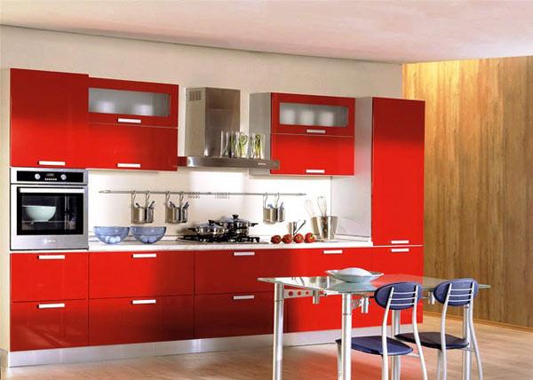 Кухня современная красная