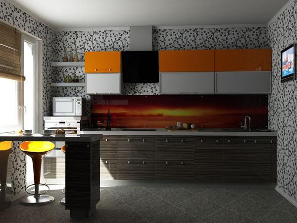 Кухня современная с барной стойкой