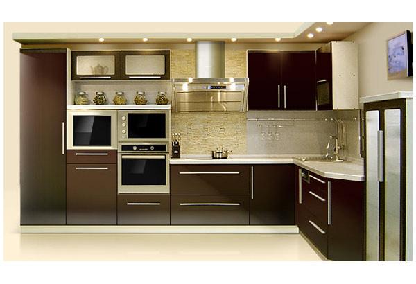 Кухня современная с черным фасадом
