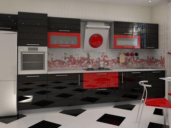 Кухня современная с глянцевым фасадом