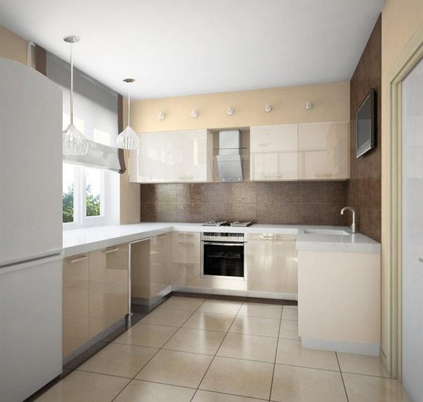 Кухня светлая глянцевая